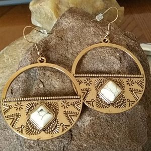 White Turquoise Style Earrings New
